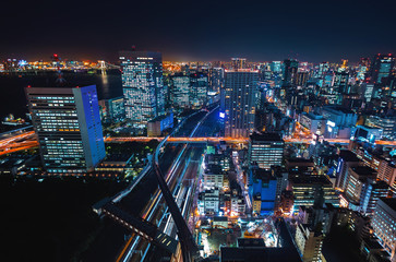 Aerial view of the cityscape of Minato, Tokyo, Japan at night