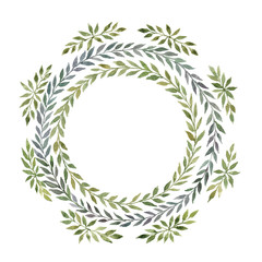 Spring wreath. Watercolor hand drawn illustration isolated on white background.