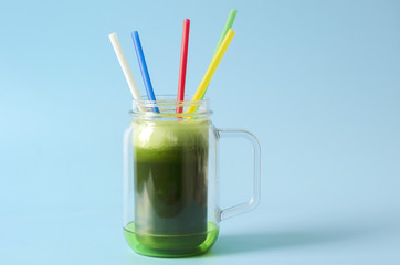 Cup with smoothie with lid
