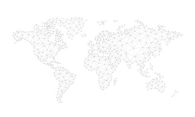 Blockchain technology network polygon world map isolated on white background. Network, fintech business, e-commerce, bitcoin trading and global cryptocurrency blockchain business banner concept vector