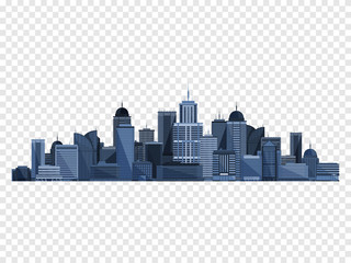 City concept isolated on checkered backgound. Vector illustration.