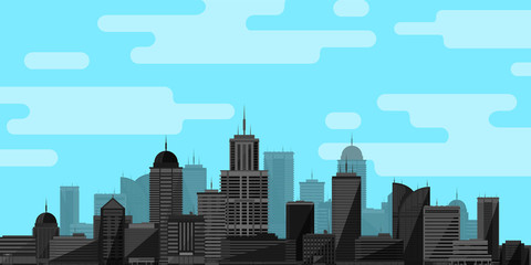 City background. Vector illustration in flat style.