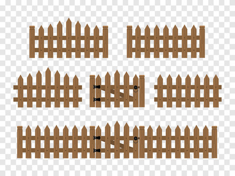 Wooden fences and gates isolated in flat style. Vector