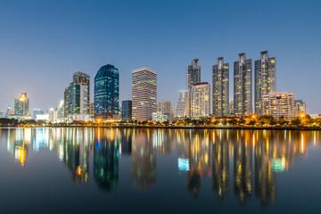 Bangkok city - Cityscape downtown  Business district urban area at night  ,reflection landscape Bangkok Thailand