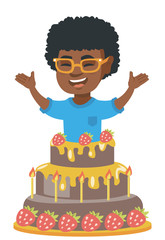 Little african-american boy jumping out of a large cake. Full length of cheerful smiling boy standing with raised hands in the cake. Vector sketch cartoon illustration isolated on white background