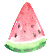 Abstract triangular slice of watermelon painted in watercolor on clean white background