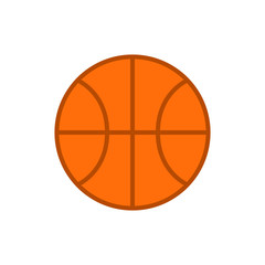 Basketball ball. Vector icon of basketball ball isolated on white background. Flat vector