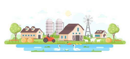Farm - modern flat design style vector illustration