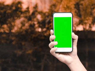 hand of smart man holding mobile smart phone with chroma key green screen on autumn nature background, new technology concept with copy space