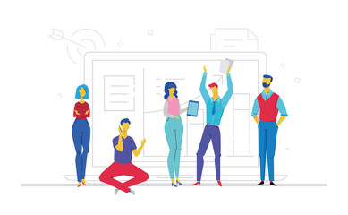 Teamwork - flat design style colorful illustration