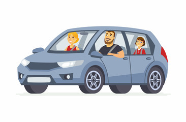 Papiers peints Cartoon voitures Family in the car - cartoon people character isolated illustration