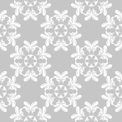 White flowers on gray background. Ornamental seamless pattern