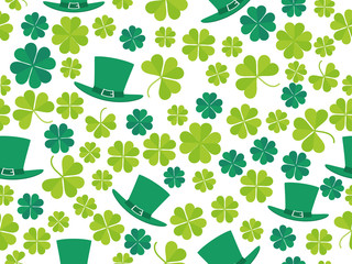 Patrick's Day, seamless pattern with green clover leaves and leprechaun hat. For banner and greeting card. Typography design. Vector illustration