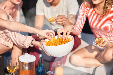 Close up of bowl with snacks at te party