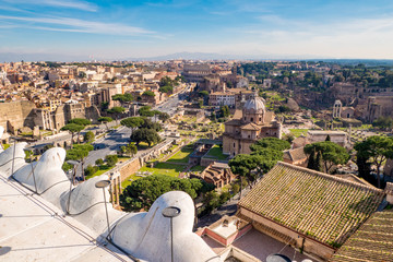 Rome skyline from above panorama