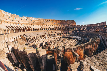 Inside the Roman Colosseum in Rome, Italy panoramic view