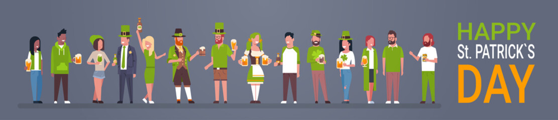 Happy St. Patricks Day Horizontal Poster With People Wearing Traditional Clothes And Holding Beer Glasses And Mugs Flat Vector Illustration