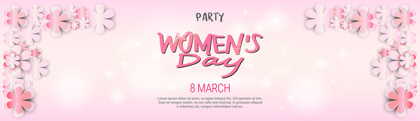 Happy Womens Day Party Invitation Design Template Background Horizontal Banner Beautiful 8 March Decoration Vector Illustration