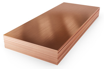 Stack of copper sheets, warehouse copper plates. Isolated on white background, clipping path included. 3d illustration.