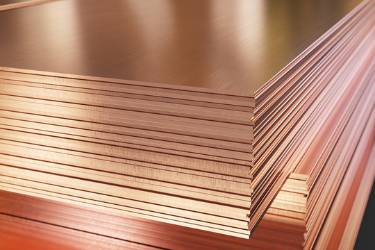 Many copper sheets, warehouse copper plates. 3d illustration.