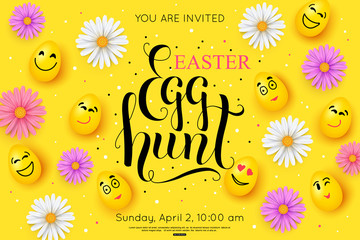 Easter Egg Hunt Flyer Invitation. Vector illustration