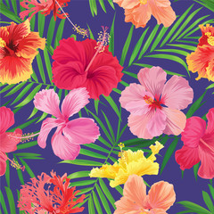 Tropical seamless pattern with hibiscus flower with palm leaf on blue background. Vector set of exotic tropical garden for wedding invitations, greeting card and fashion design.