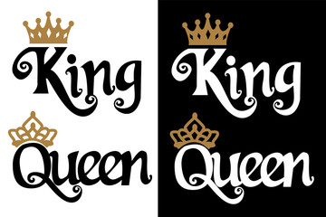 King and queen - couple design. Black text and gold crown isolated on white background. Can be used for printable souvenirs ( t-shirt, pillow, magnet, mug, cup). Icon of wedding invitation.Royal love Fototapete