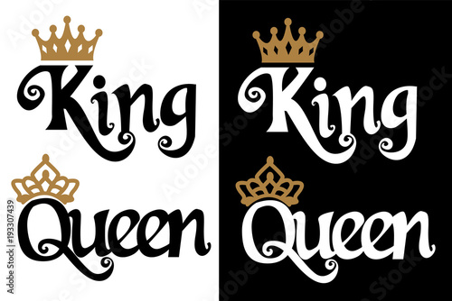 King And Queen Font By Weknow: Couple Design. Black Text And Gold Crown