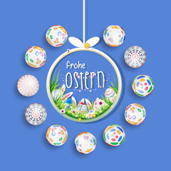 Bunte Ostereier. Frohe Ostern. Happy easter image vector. Modern happy Easter background with colorful eggs, bunny, rubbit, and spring flower. Template Easter greeting card, vector.