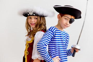 Kids in a pirate costume
