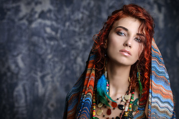 woman wears kerchief