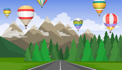 The landscape of forests, mountains, roads and hot air balloons