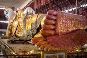 Beautiful reclining buddha image Chauk htat gyi reclining buddha (sweet eye buddha), yangon, myan