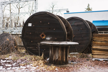 Cable round trays near electrical station and plant
