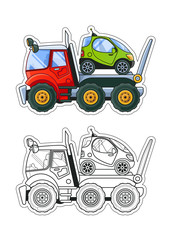 Towing Truck with a Tiny Car Side View Coloring Book. Colored Illustration + Line Art.