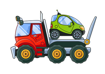 Towing Truck with a Tiny Car Side View. Colored Illustration.