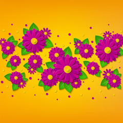 Bright spring floral background with 3d pink and purple cut out paper flowers on yellow background. Vector illustration