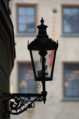 Lamppost view in a Prague's streets. Czech. design, tradition.