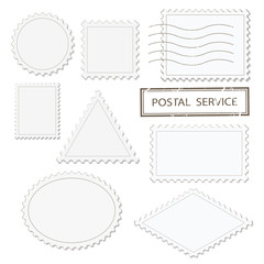 Blank postage stamps different shapes set - triangle, square, round, oval, rhombus. Isolated on white.