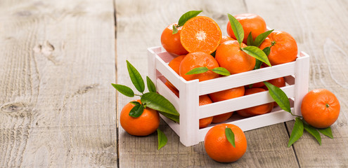 Fresh tangerine in the crate