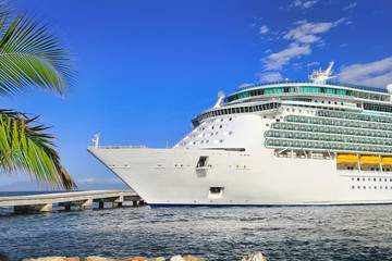 Luxury Cruise Ship in Port on sunny day