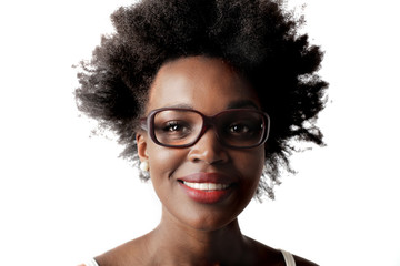 Smiling woman wearing glasses and red lipstick