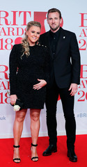 Harry Kane and Katie Goodland arrive at the Brit Awards at the O2 Arena in London
