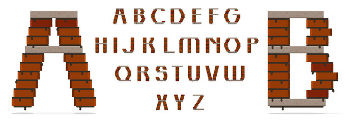 Font type uppercase, bricks and concrete slabs. Suitable for building theme. Individual letters also can be used as a logo of the construction company.