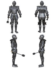Illustration of a Medieval knight wearing 15th century decorated Gothic armour, set of four character views, 3d digitally rendered illustration