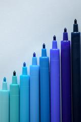Blue color felt tip pen markers
