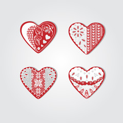 heart with white lace, vector heart, lace heart