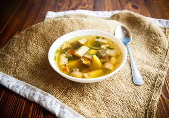 Fresh vegetable soup with forest mushrooms