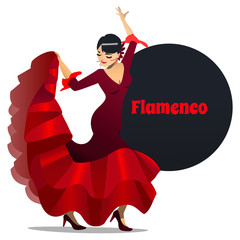 Flamenco Dancer. Dancing Girl in Cartoon Style for Fliers Posters Banners Prints of Dance School and Studio. Vector Illustration