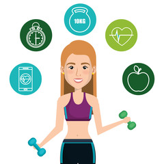 female athlete with fitness icons vector illustration design